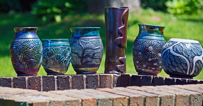 Finished Raku Pottery Pieces by Suzi